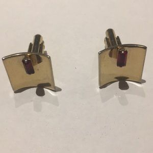 Vintage red ruby stone cuff links